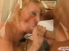 It's time for Silvya to take on not one but three dicks. This horny milf just loves to get fucked hard. The boys double penetrate her and feed he
