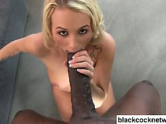 Big tit blonde sucking huge black cock