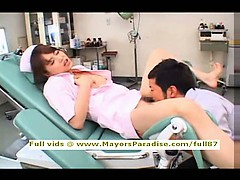 Akiho Yoshizawa smart lovely Asian nurse enjoys toying