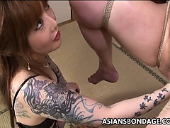 Asian bondage babe is fisted