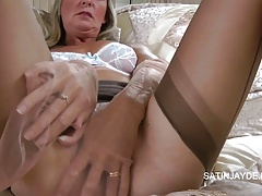 Stocking Play In The Bedroom With Satin Jayde