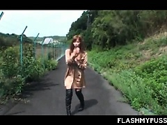 Asian public nudity with hot chick in fishnets flashing assets