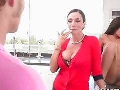 Teen couple plus MILF in a three way