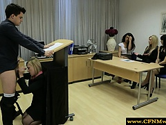 Femdom humiliating her sub by sucking during class