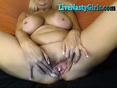 Big Boobed Granny Stretches Her Pussy 2