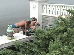 Out on a deck at the Belvedere House on Fire Island, cute