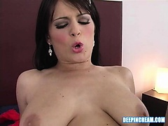 Cream pie action with brunette in this deep in cream series