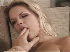 Hot blonde gets assfucked on the couch