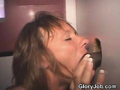 Mature Red Head Sucking Black Dick Through Glory Hole
