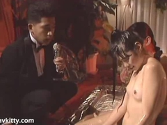 Asian sweet girl totally covered in warm oil